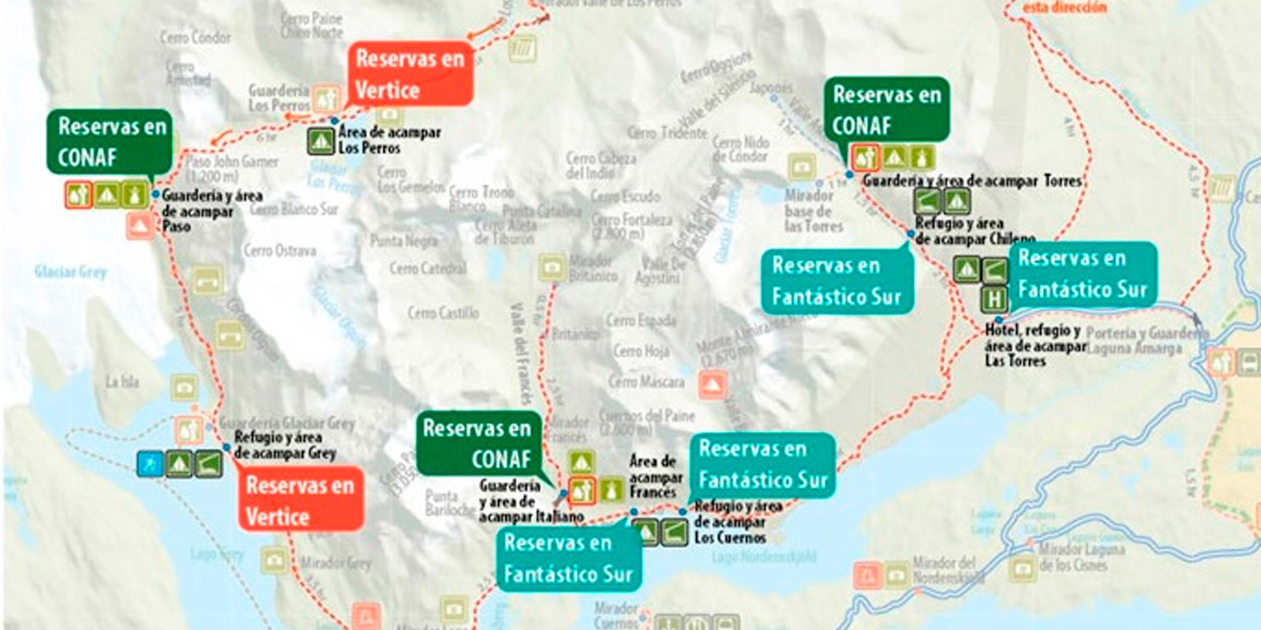 Circuito W : Torres del paine map for w trek and hotel locations